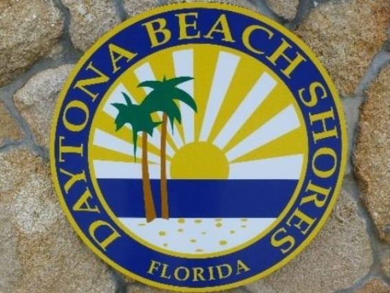 The Daytona Beach Shores city seal with a flagstone background as seen on the city's nor
