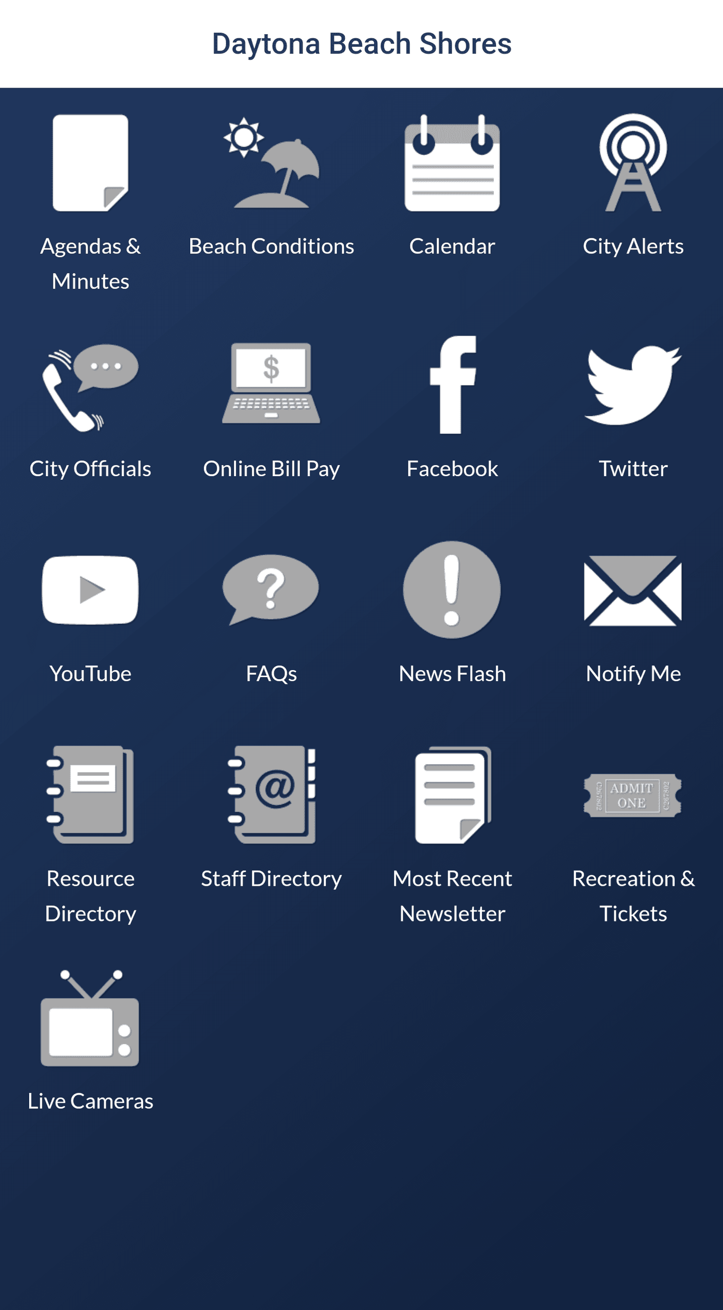 A Mobile Application Dashboard with Icons Linking to Various Options